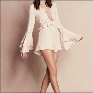 For Love and Lemons Dusty Pink Lace Romper